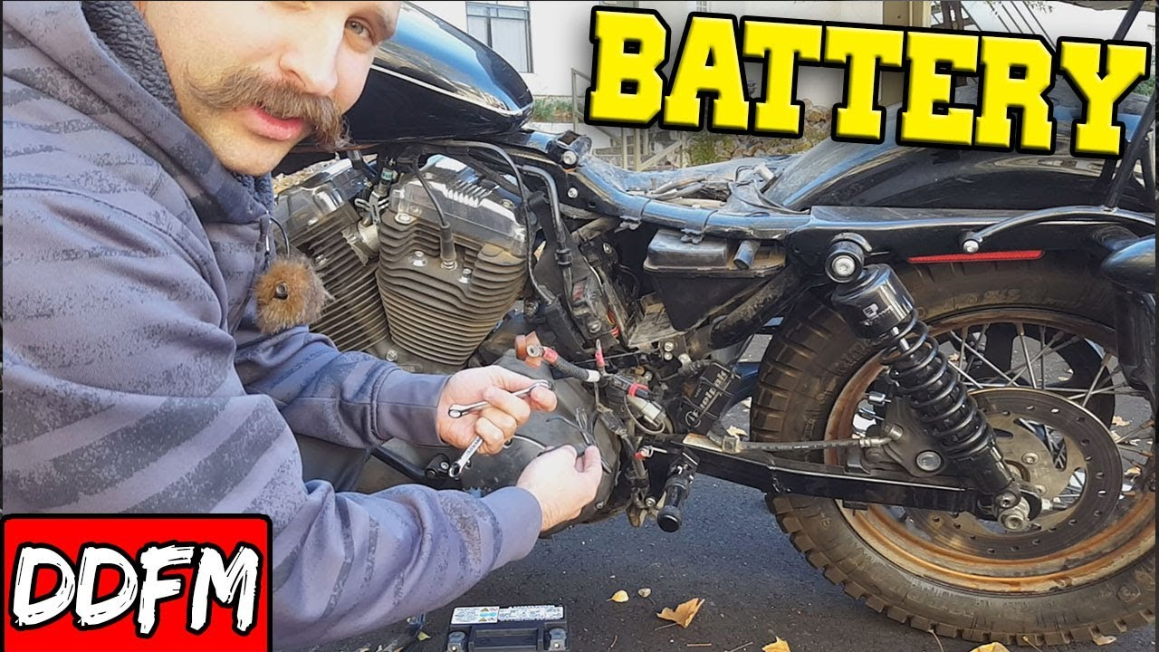 Changing My Harley Sportster Battery / Battery Tender Install on