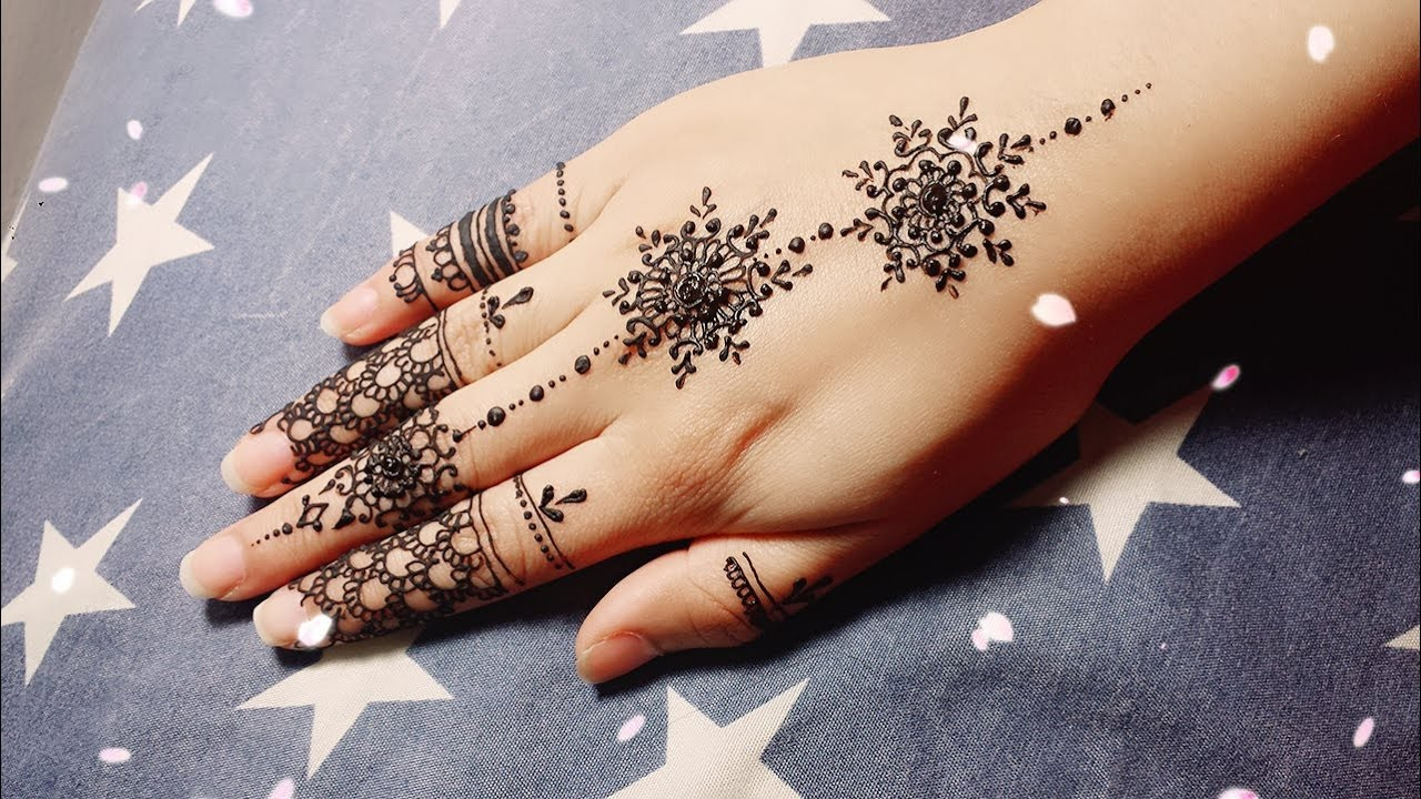 Simple Henna Tattoo On Hand: DIY Easy Mehendi Design For Fingers Tutorial #9- Henna
