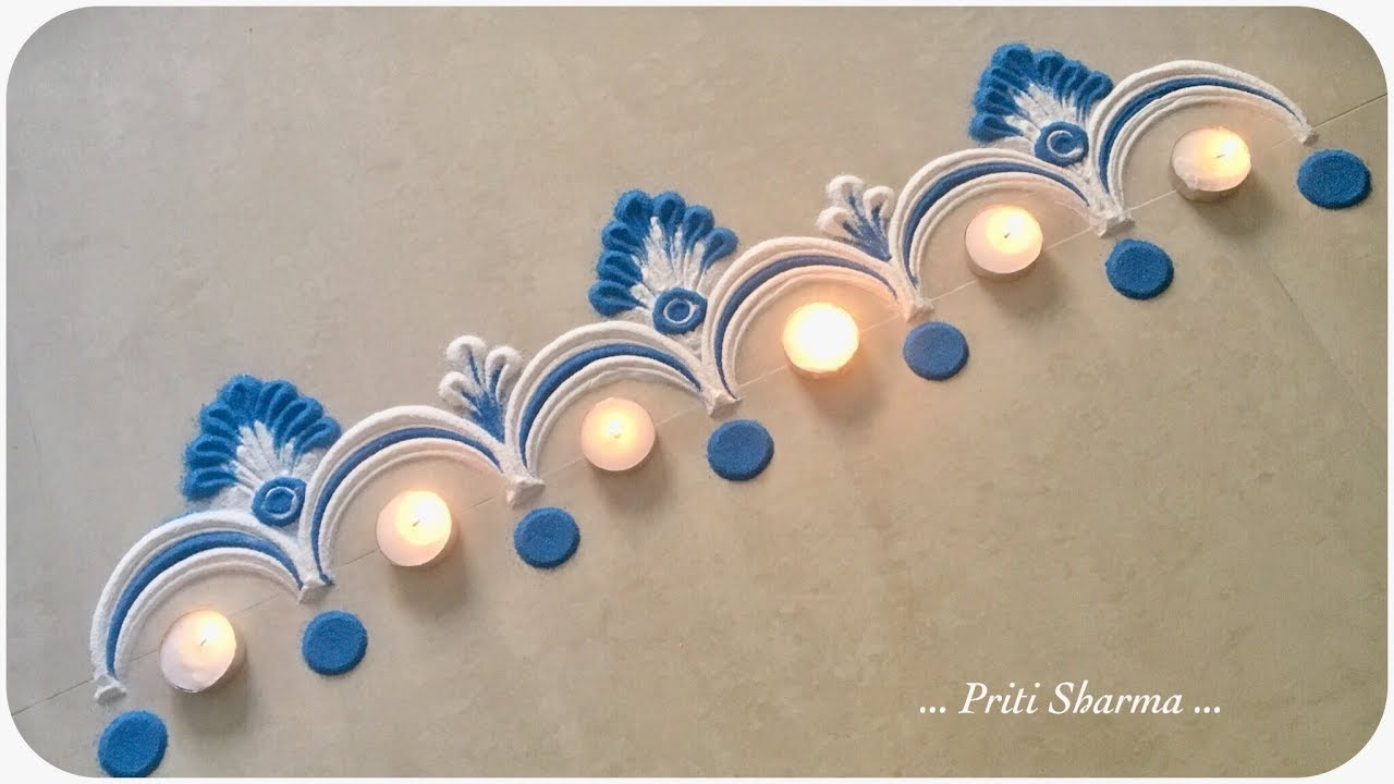 Very Easy And Bright Border Rangoli Design For Diwali / Simple Door Rangoli Design | Priti Sharma