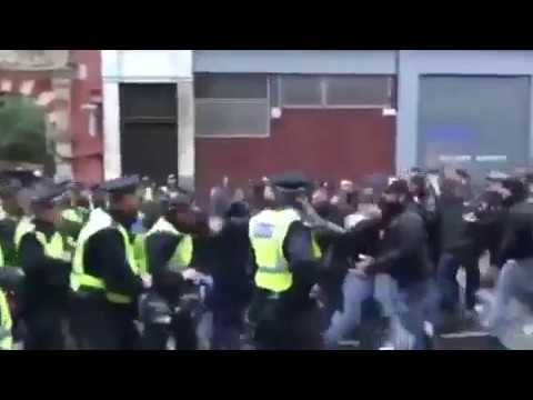 Roma fans in London RIOT: Supporters clash with police ahead of Chelsea match