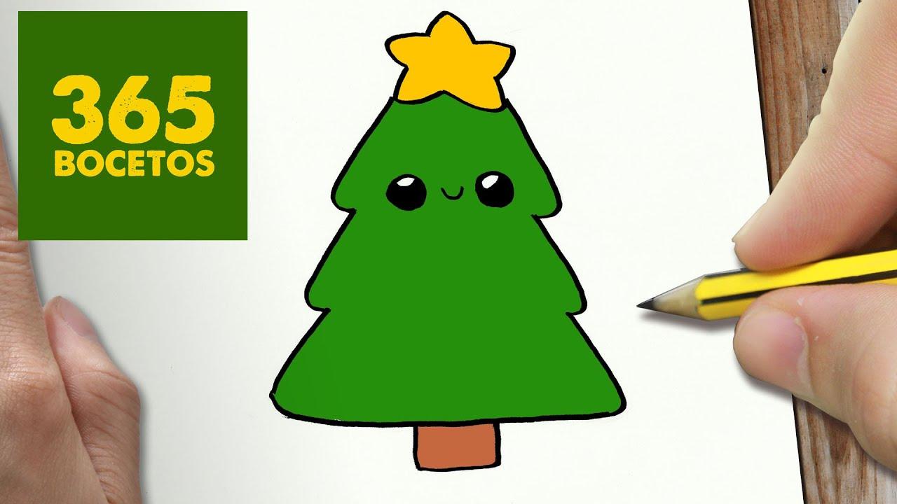 Como dibujar un arbol para navidad paso a paso dibujos kawaii navide os how to draw a tree - Pasos para pintar ...