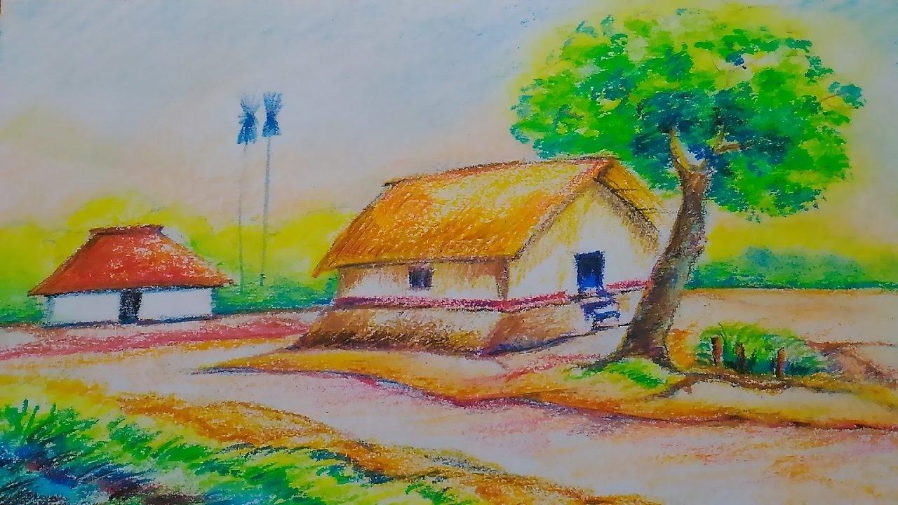landscape easy drawing kids