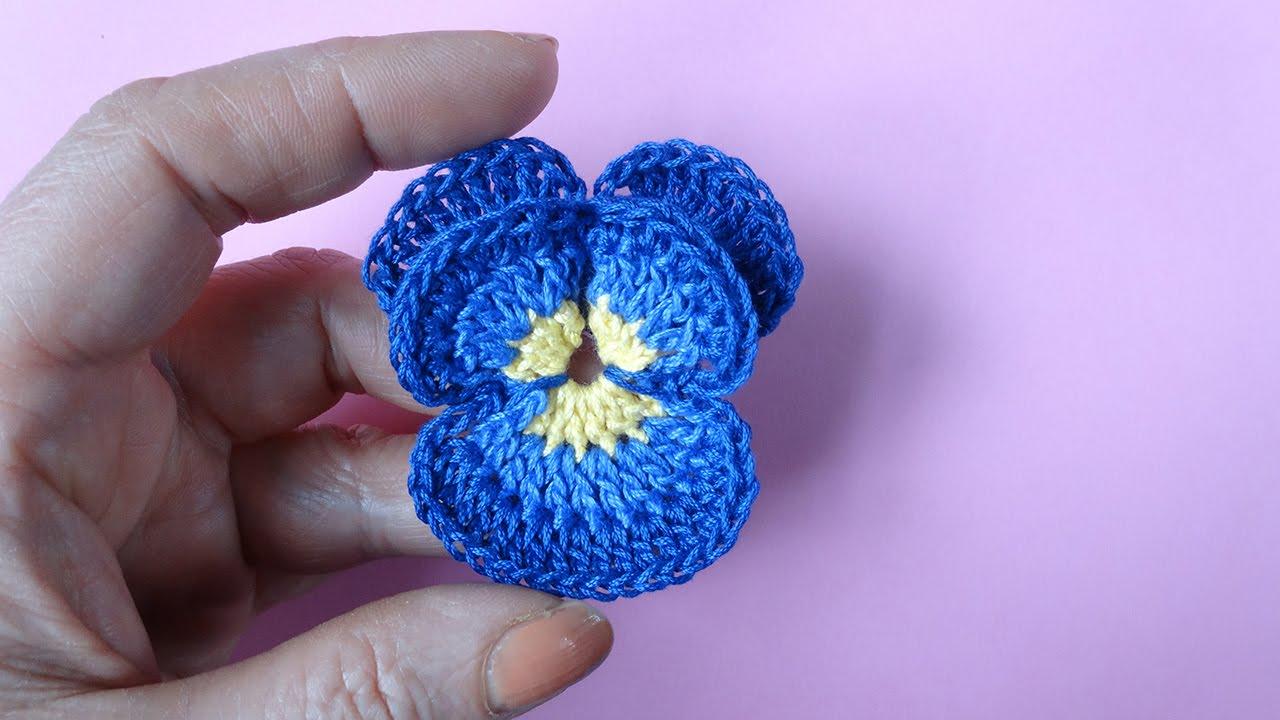 Crochet Pansy как вязать анютины глазки крючком цветок 71 Youtube