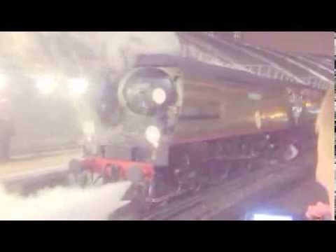 Battle of Britain class No:34067 Tangmere leaving Waterloo Station