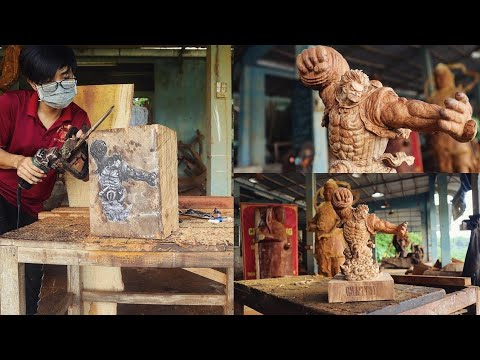 How to Carve Luffy Gear 4 Out Of Wood  - Sculpture timelapse