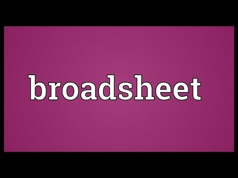 Broadsheet Meaning