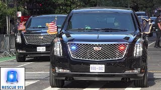 PRESIDENT TRUMP's motorcade on the way to the UN General Assembly in Manhattan