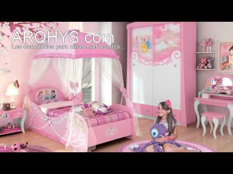 Decoracion con mural princesas disney - Habitaciones infantiles disney ...