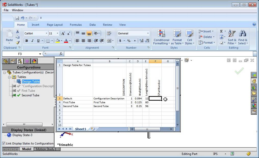 Design Table Solidworks Design Table Parameters In Solidworks - Youtube