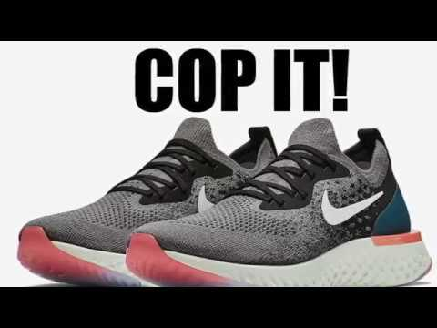 73adcd315e89 Nike Epic React Flyknit Gunsmoke Black Geode Teal White - YouTube