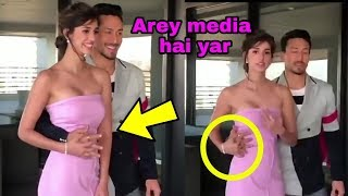 Oops ! Baaghi 2 actress Disha Patani trying to stop romantic bf Tiger Shroff in front of media !