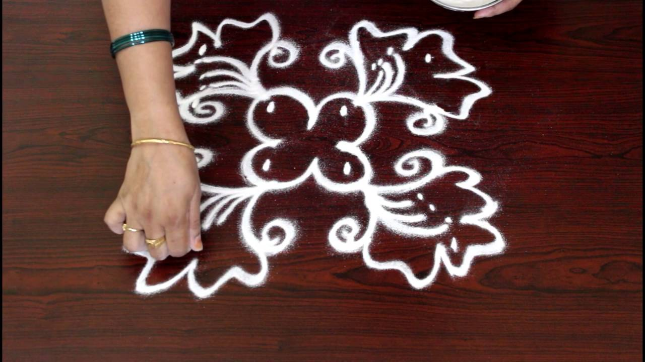 chukkala muggulu flower designs with dots 4x4 dots-simple kolam ...