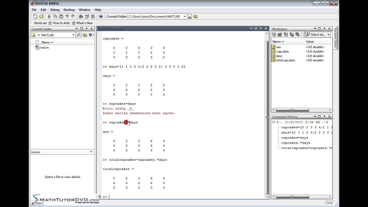 Matlab sect 39 multiplying and dividing matrices for Table 2 matrix matlab