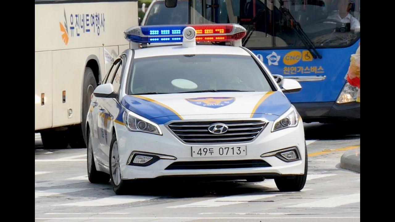 Seoul South Korea Police Car Responding With Lights