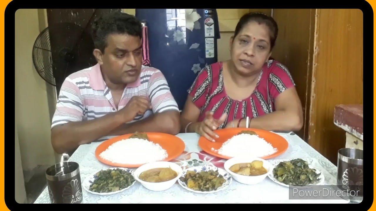 Eating show with Bhaat. kochur seek.. kolmisaker chochori.omlet curry.