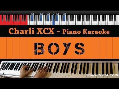 Charli XCX - Boys - HIGHER Key (Piano Karaoke / Sing Along)