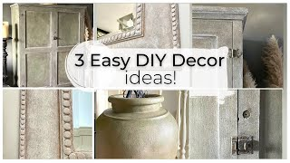 3 Home Decor DIY: Chąlk Painted Furniture, chalk paint ancient vase & mirror  ASMR home decor