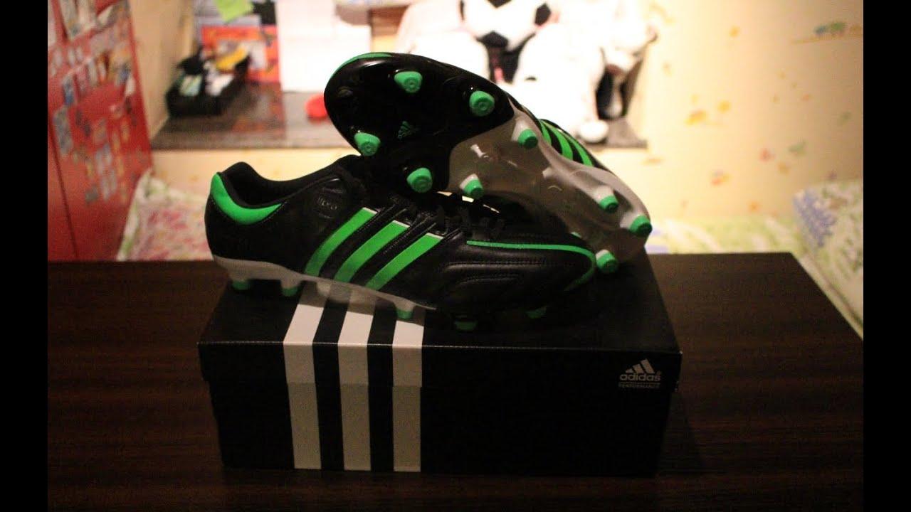 online retailer df2c5 1836d Adidas Adipure 11pro FG Boots - Black Green White UNBOXING