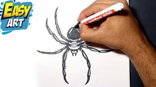 how to draw spider 3 - como dibujar una araña - drawing