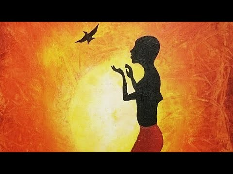 African woman and bird --- EASY AFRICAN painting