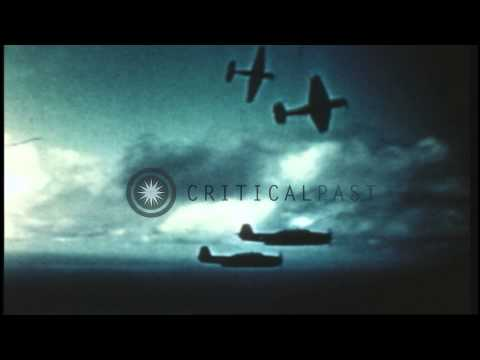 US aircraft drop bombs over Manila, Philippines during World War II. HD Stock Footage