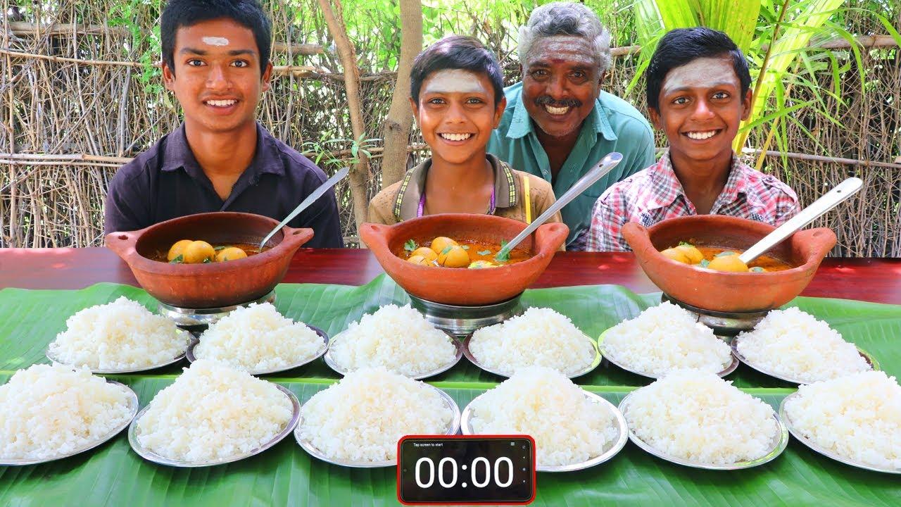 12 PLATE WHITE RICE EATING | EGG GRAVY EATING COMPETITION | VILLAGE BOYS EATING CHALLENGE