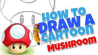 How to draw a cute cartoon mushroom | step by step