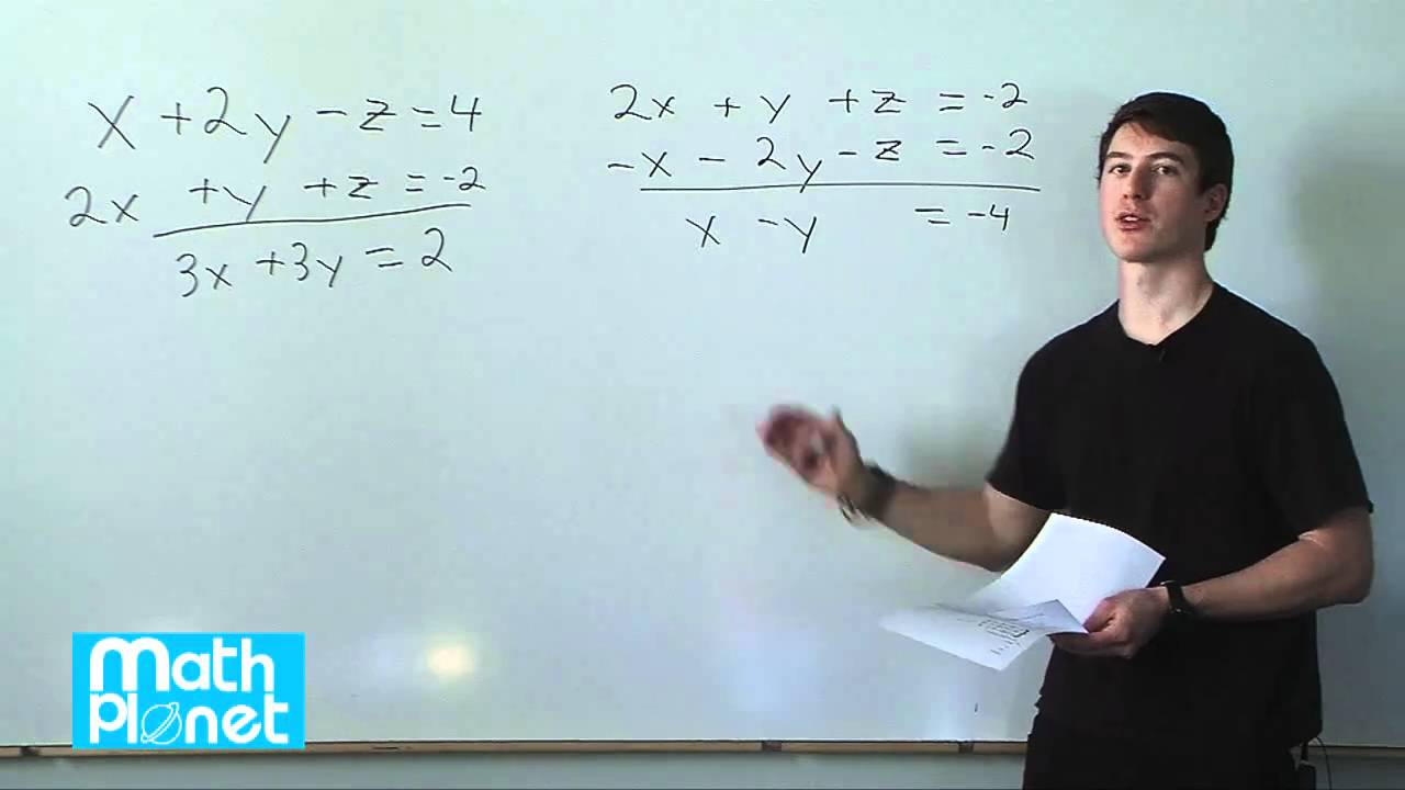 Solving systems of equations in three variables (Algebra 2