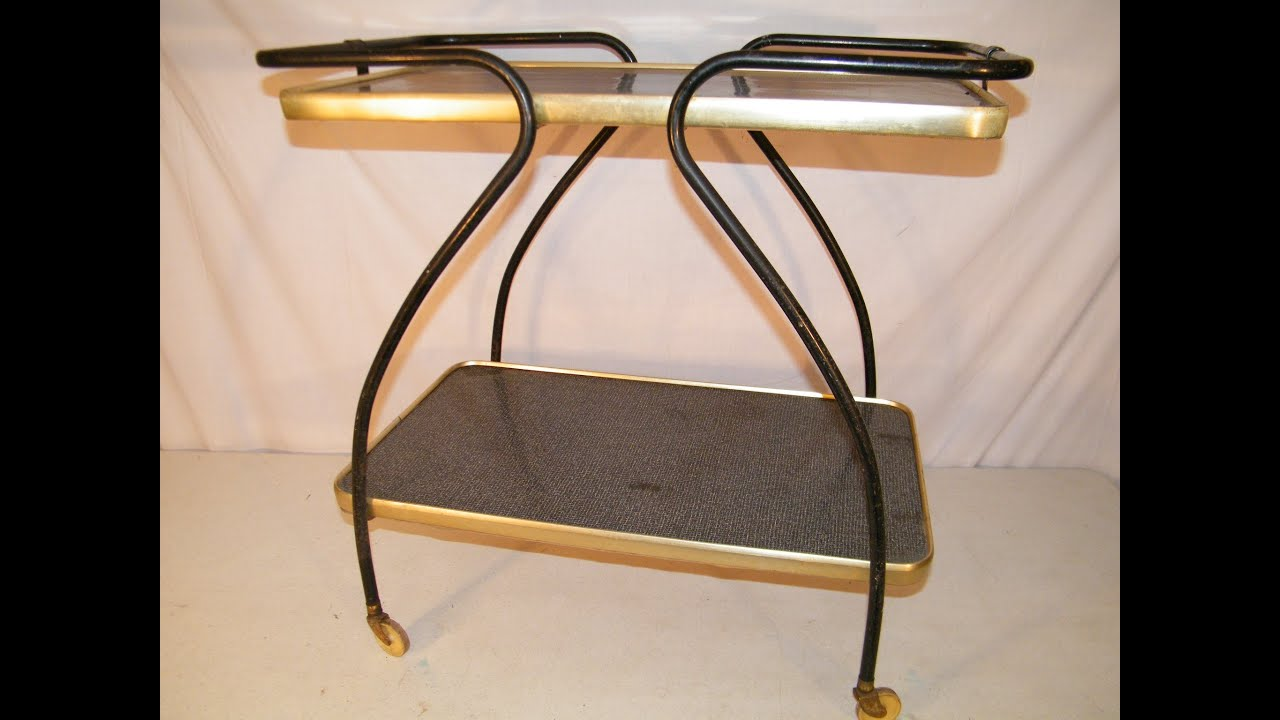 VINTAGE MID CENTURY 1950u0027S 2 TIER KITCHEN UTILITY ROLLING SERVING CART    YouTube