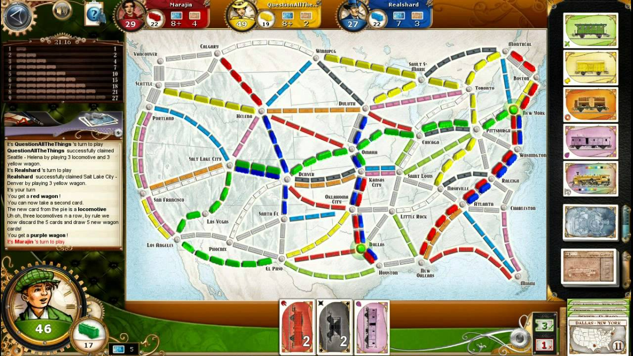 ticket to ride usa map 01 Let S Play Ticket To Ride Usa Map Youtube