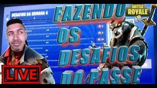 FAZENDO OS DESAFIOS SEMANA 4 -BORA GANHAR ALGUMA WIN Fortnite battle royale) #ps4