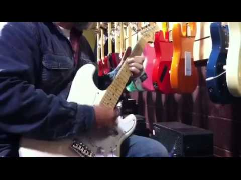 Don Schanche playing a $149 Indiana strat copy at Earthshaking Music