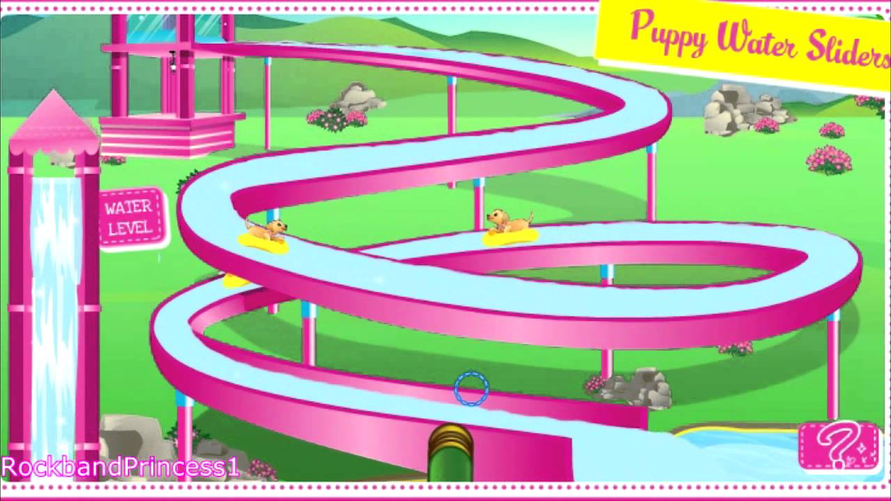 barbie puppy water park slide game barbie games online youtube