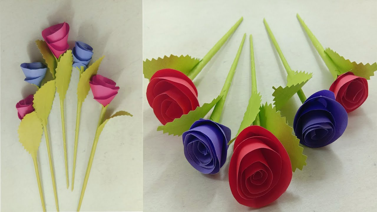 DIY Wall Decoration Door - Origami Easy Paper Flowers - Wall Hanging Paper Flower Rose - Craft ... - photo#32