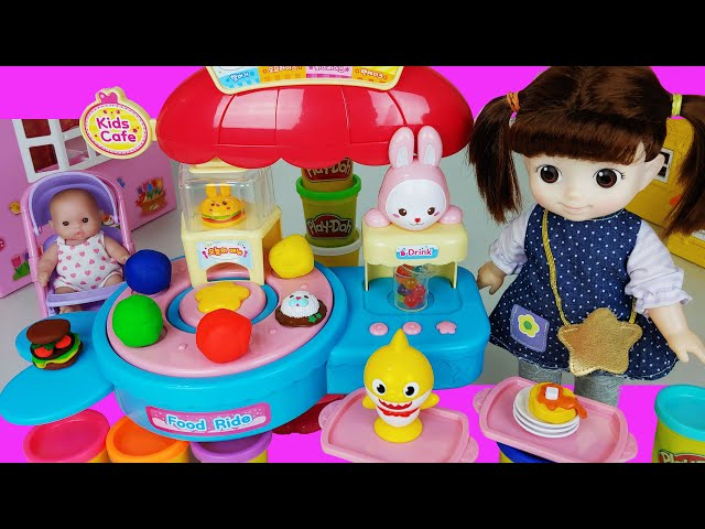 Baby doll food shop and Play doh kitchen toys play house story - ToyMong TV 토이몽