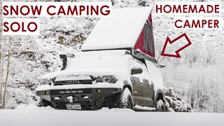 Solo Snow Camping iฑ my Homemade Camper