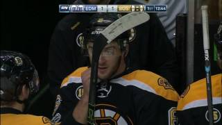 Puck just barely crosses the line on Bruins goal