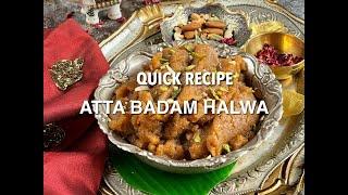 Quick Atta Badam Halwa | Wheat Almond Halwa