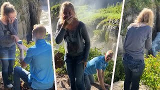 Man Pretends to Drop Ring off Cliff During Proposal Prank