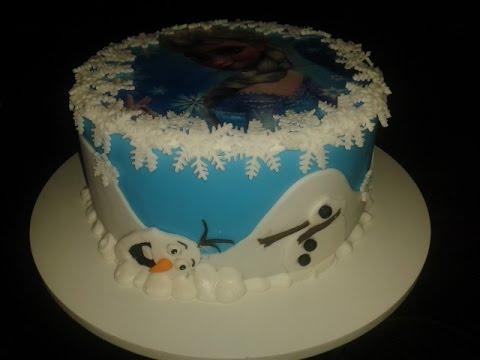 Bolo infantil de pasta americana da Frozen Elsa e Olaf parte II