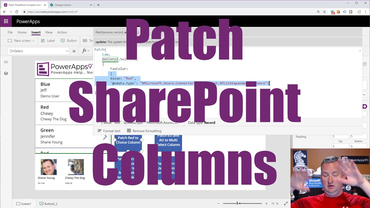 PowerApps SharePoint Complex Columns - Patch person, choice, and lookup  fields