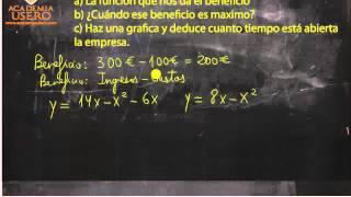 Beneficio de una empresa y parábola Matemáticas Acceso CFGS Academia Usero Estepona