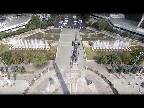 Aerial Drone Video. Republic Square. Kazakhstan Almaty city