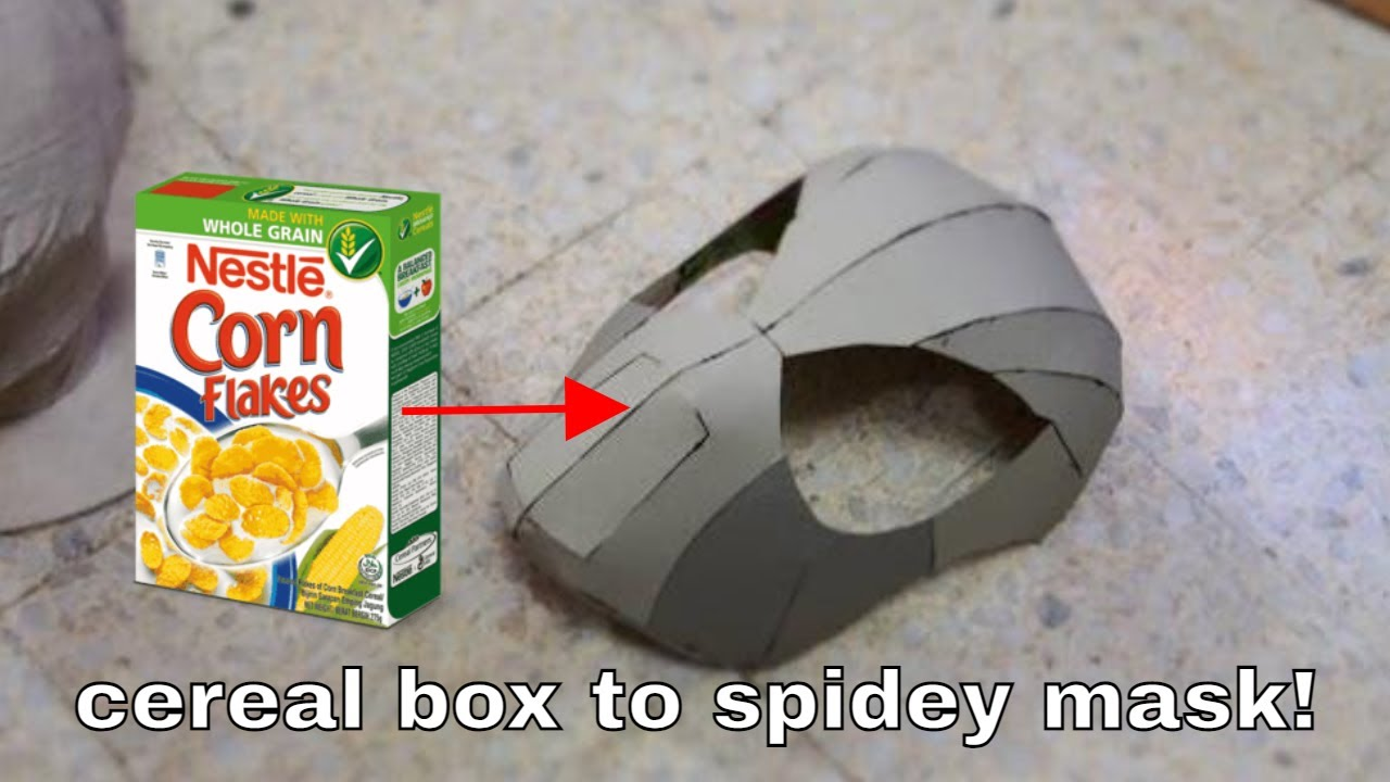 53: How to Make Spider-Man Face Shell - Cereal Box (free PDF) - YouTube