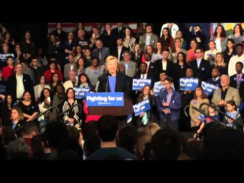 "Near the end of this video clip of Thursday's speech by Hillary Clinton at Purchase College, suppprters of her Democratic opponent Bernie Sanders are shown shouting ""She wins, we lose"" before walking out of the campaign event."
