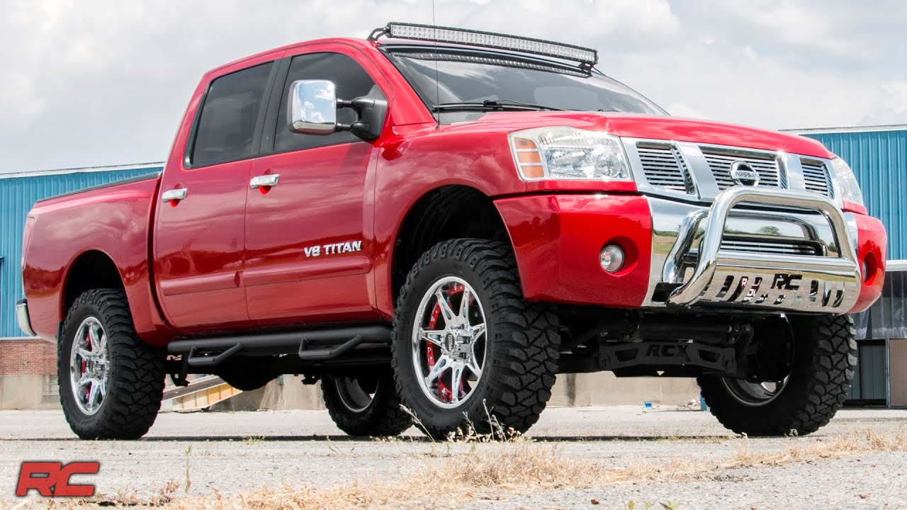 2004 2015 nissan titan 4 inch suspension lift kit by rough country 2004 2015 nissan titan 4 inch suspension lift kit by rough country youtube vanachro Choice Image