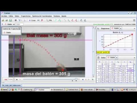 ESAD. Física. Práctica 3. Tracker tutorial Español tiro parabólico de balón