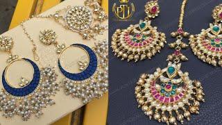 Beautiful Chandbaali earrings with maangtika designs/Indian jewellery ideas for lehenga,saree,suit