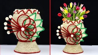 How to make plastic bottle and jute rope combination flower vase | Jute rope craft decoration design