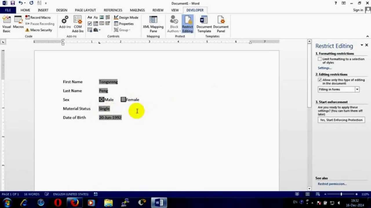 How to create fillable form in MS word 2013 YouTube